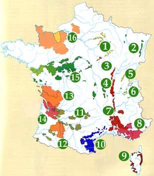 карта винодельческих регионов Франции