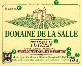 Этикетка для вина Vin Delimite de Qualite Superieure (V.D.Q.S)