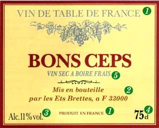 Этикетка французского столового вина - VIN DE TABLE DE FRANCE